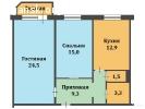 Продам 2-х комнатную квратиру, общ. пл. 66,5 кв.м.